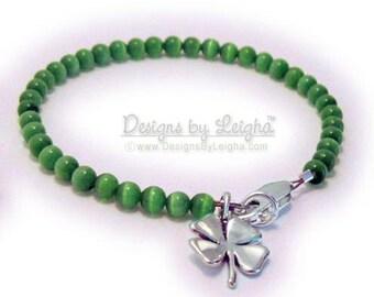 Green Shamrock Bracelet, Four Leaf Clover, St Patrick's Day, Irish Bracelets with Charms