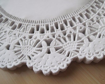 50-8 inch White Paper Lace Doilies-Paper Doily-Wedding Doilies-Paper Lace Doilies-Party Decor Doilie