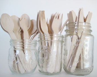 Set of 75 Disposable Wooden Utensils-25 Wooden Knifes-25 Wooden Forks-25 Wooden Spoons-Wooden Utensils-Wooden Silverware-Wooden Tableware