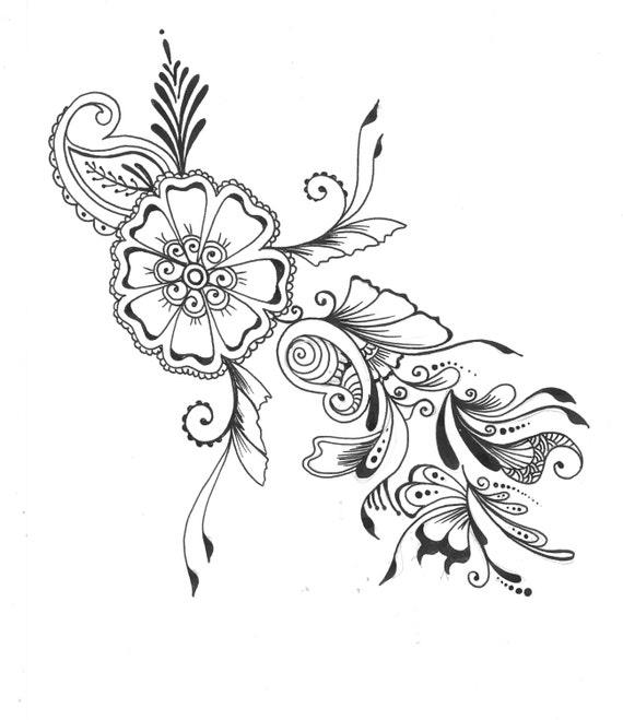Items Similar To 8x10 Art Print . Henna Floral Design