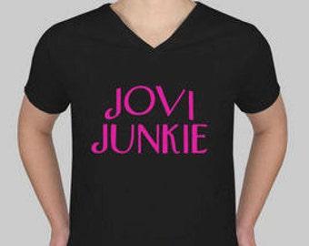 Bon Jovi Original Jovi Junkie Ladies V-Neck T-Shirt