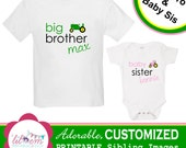 PRINTABLE Customized Sibling Images - Big Brother, Baby Sister TRACTOR Theme (green and pink)