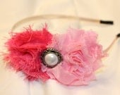 Classy Pink Headband with Light and Dark Pink Shabby Flowers and Faux Pearl Embellishment