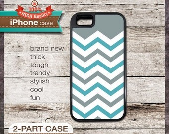 Modern Chevron 37 Grey and Teal Design - iPhone 6, 6+, 5 5S, 5C, 4 4S, Samsung Galaxy S3, S4