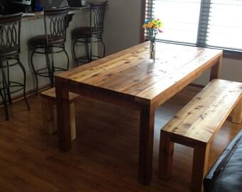 Harvest farm house style distressed dinning room wood table
