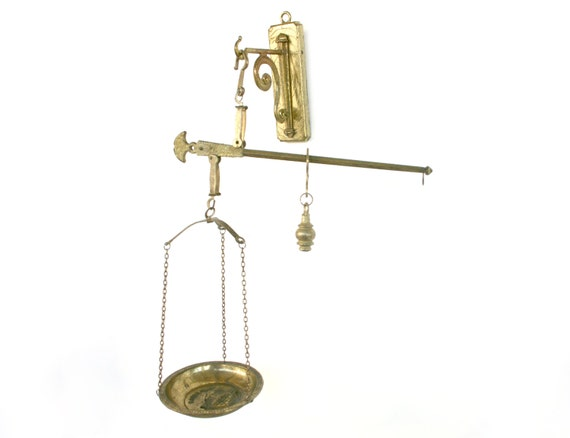 Brass Kitchen Wall Decor : Brass hanging kitchen wall arm scale and hook greek key