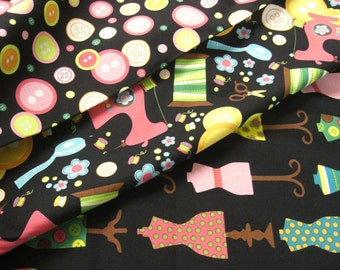 """0,5 m printed cotton fabric """"Sewing"""" 110 cm w"""