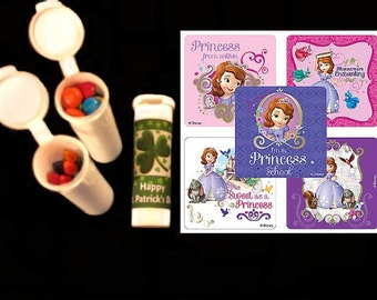 10 Sofia the First stickers plus 10 plastic candy/crayon tube party favors