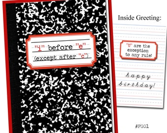 i before e, except after c. Grammar themed birthday card.
