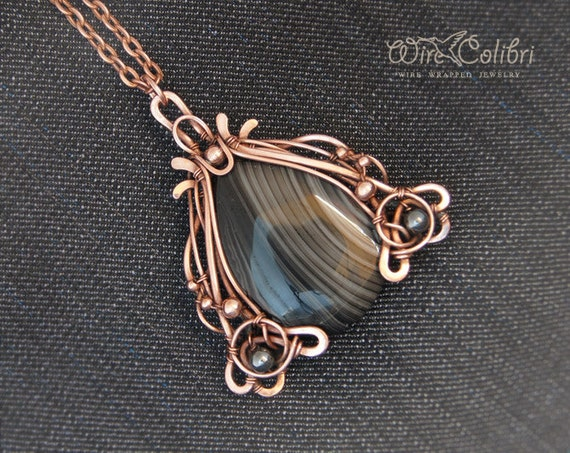 black agate stone pendant necklace wire wrapped jewelry. Black Bedroom Furniture Sets. Home Design Ideas