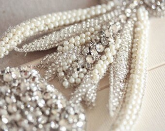 Vintage Bridal sash, Wedding sash, Pearls Beaded Wedding belts and sashes - Tulip (Made to Order)
