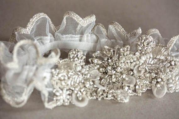 Heirloom Wedding Garter Set   - Isla Silver Edge (Made to Order)