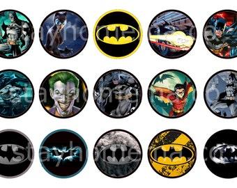 INSTANT DOWNLOAD One Inch 4x6 Bottle Cap Images: Batman