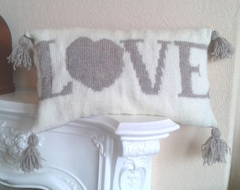 KNITTING PATTERN - Love Cushion Cover Knitting Pattern Download From Knitting by Post