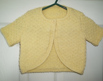 6-12 months Little Girls Hand Knitted Summer Bolero - Short Sleeves - Textured Stitch