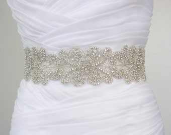 ISABEL - Vintage Inspired Flower Crystal Rhinestone Bridal Beaded Sash Belt, Wedding Dress Sash, Bridal Crystal Belts