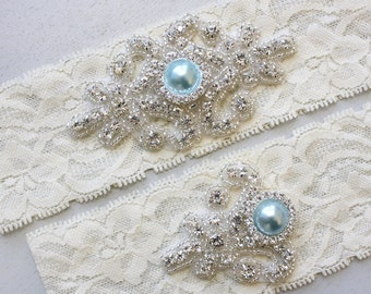 Best Seller - RACHEL II - Blue Pearl Wedding Garter Set, Vintage Lace Garter, Rhinestone Crystal Bridal Garter, Something Blue