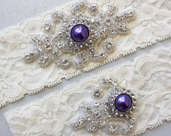 RACHEL II - Purple Pearl Wedding Garter Set, Vintage Inspired Wedding Stretch Lace Garter, Rhinestone Crystal Bridal Garter Set