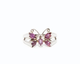 Pink Rubies in Butterfly design Ring