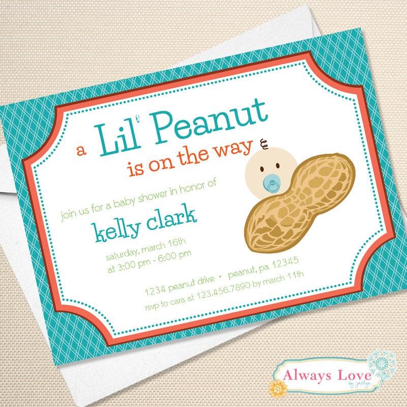 lil 39 peanut little peanut baby shower invitation