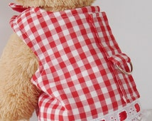 Dog Clothes, Small Pet Harness, Dog Vest, Classic Red White Checkered Dog Dress Lace Trim, Chihuahua Harness, Ferret Harness, Yorkie Clothes