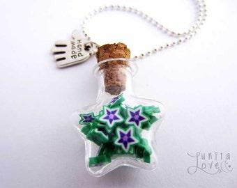 Miniature Star Shaped Glass Bottle Necklace Handmade