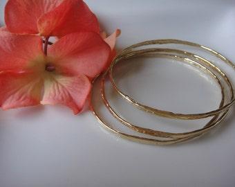 1 pc. Vermeil, 18k gold over 925 sterling silver hammered bangle, vermeil bangle bracelet, shiny gold, Vermeil bangle, bangle, bracelet