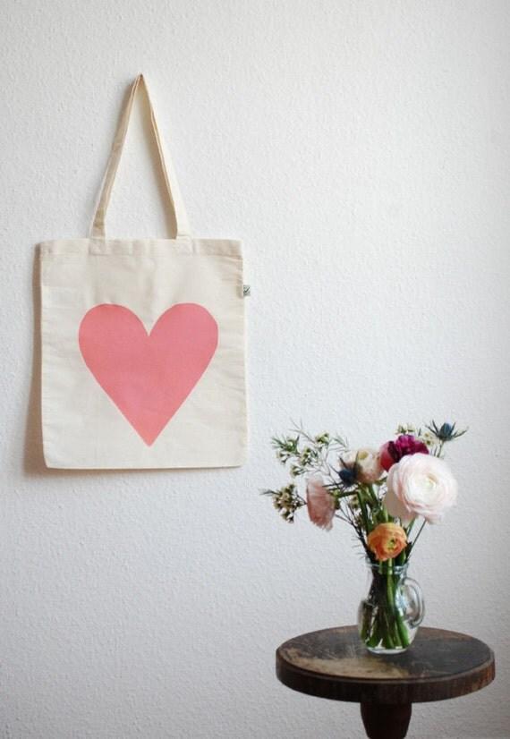 Eco Love Heart Tote Bag - Peach