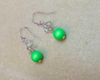 Swarovski Neon Green Pearl Drop Earrings perfect for Summer