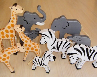 pdf patterns / tutorial for 10 different wooden animals in Waldorf style, DIY - elephant, giraffe, zebra