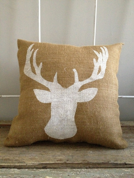Burlap Pillow Deer pillow Woodland Rustic by TwoPeachesDesign