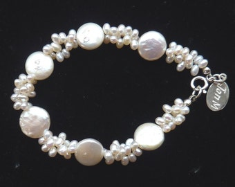 Freshwater Biwa Coin & 'rice' pearls bracelet in 925 sterling silver