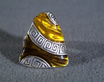 Vintage Silver Tone  fancy Enamel  Classic Greek key  bold ring  Adjustable     W