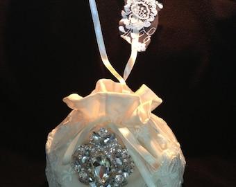 Bridal Purse, Wedding Money Bag, Ivory or White Lace Purse, Bridal Money Bag, Swarovski clear rhinestone bridal flower embellishment
