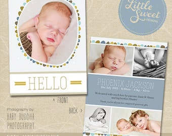 5x7 Birth Announcement Template (Baby Announcement) - Photoshop Template for photographers (BA5B) - INSTANT DOWNLOAD