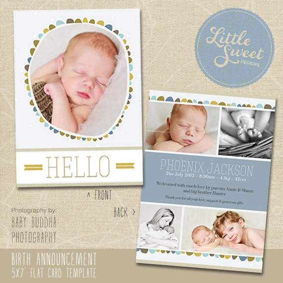 5x7 birth announcement template baby announcement. Black Bedroom Furniture Sets. Home Design Ideas