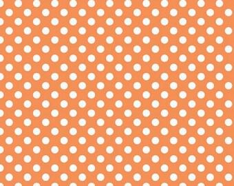 Orange Dot Small - Fat Quarter - Riley Blake Orange Small Dots Polka Dot
