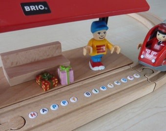 Personalized BRIO Wooden Train Track (with letter beads)