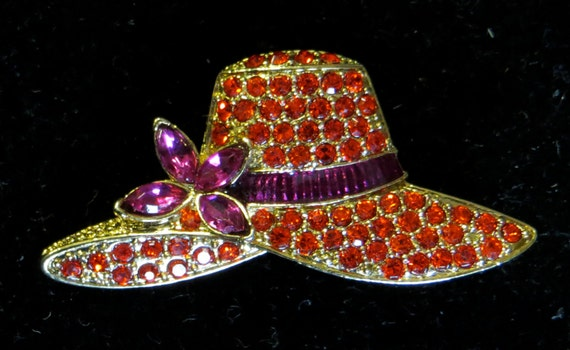 Vintage monet red rhinestone hat brooch pin signed for Red hat bling jewelry