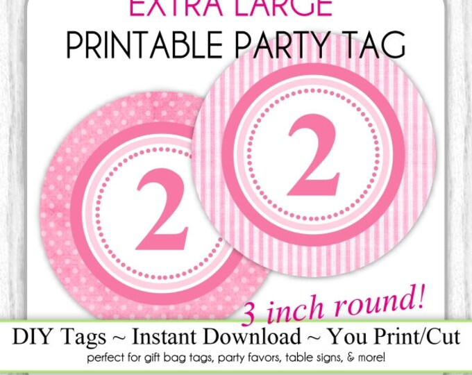 3 INCH - Pink Polka Dot Printable Party Tag & Pink Stripes 2nd Birthday Party Tag, Instant Download - 3 INCH - DIY Party Sign, Extra Large