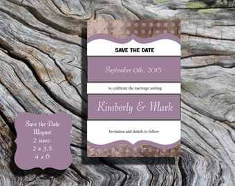 Pink Save the Date POSTCARD damask with envelope