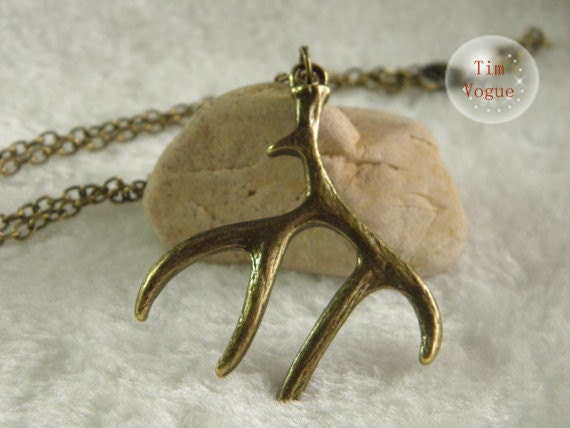 vintage bronze antler necklace