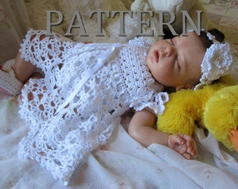 Cielo Crochet Baby Dress and Headband Pattern - Newborn through 9 months