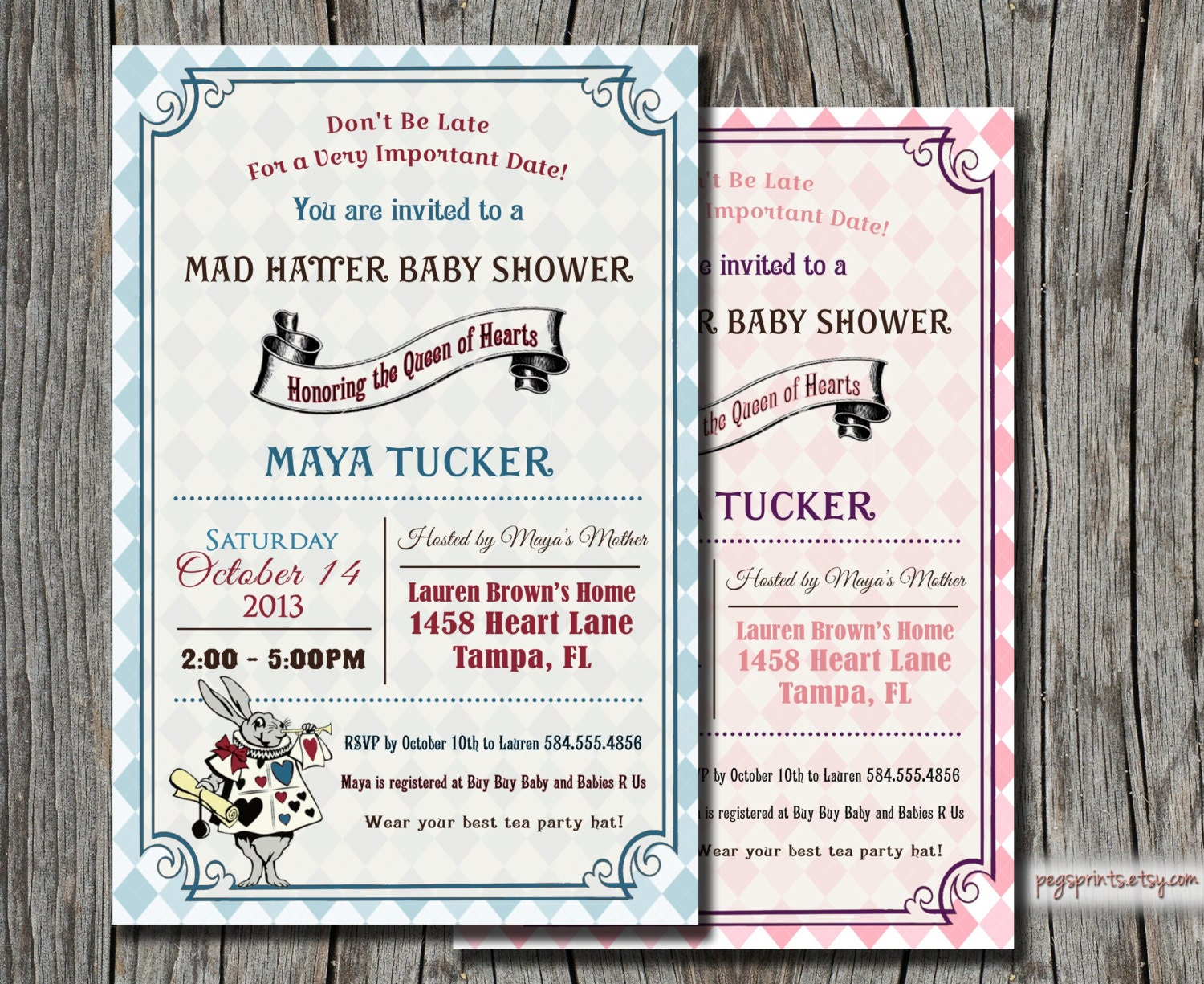 alice in wonderland baby shower invitation mad by pegsprints