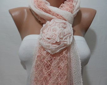MOTHERS DAY Pale Pink Fashion Scarf Shawl Women Cowl Scarf with Rose Women Fashion Accessories Gift Ideas For Her For Teens