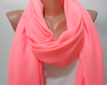 Pashmina Neon Pink Scarf Shawl Neon Pink Cowl Scarf with Fringe Edge Women Holiday Fashion  Accessories Bridesmaids Gift Ideas For Her
