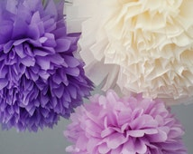12 Tissue Paper Pom Poms  / Sophia the First inspired birthday decoration /  Lilac Lavender Cream / Nursery Decoration /Baby Mobile