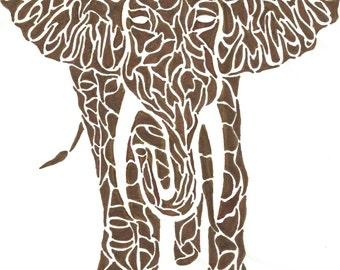 African Elephant - Tribal Mosaic Art Print