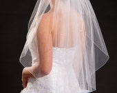 1 Layer Waist Length Veil with Scattered Rhinestones