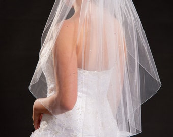 Scattered Rhinestones 1 Layer Waist Length Veil with